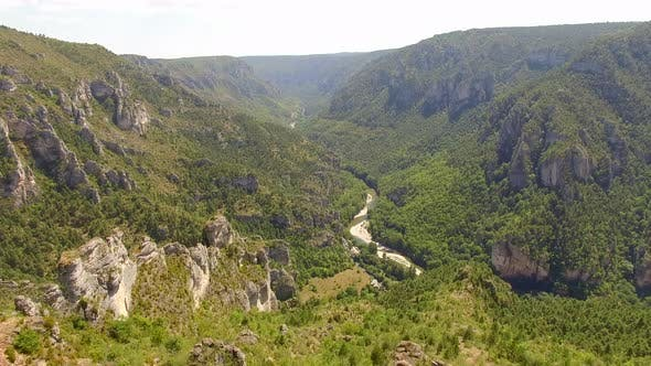 Thumbnail for Aerial travel drone view of Gorges du Tarn and the Tarn River, Southern France.