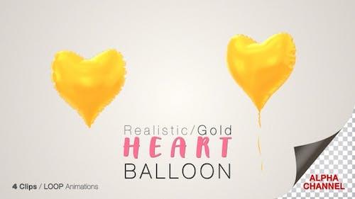 Heart Shape Gold Balloons