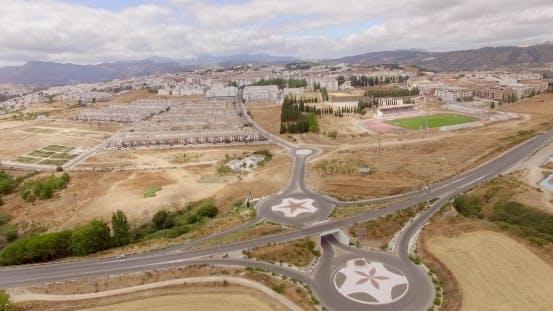 Antenne. Flug über Ronda Suburb In Andalusien