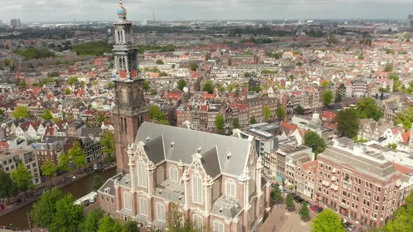 Thumbnail for Flight Above Anne Frank House and Beautiful Church in Amsterdam, Circling Aerial