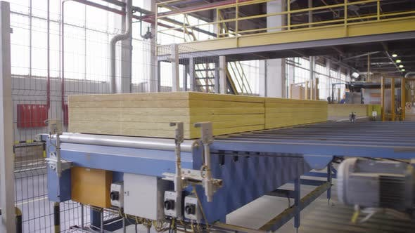 Thumbnail for Stacked Slabs of Mineral Wool Moving along Automated Conveyor Belt