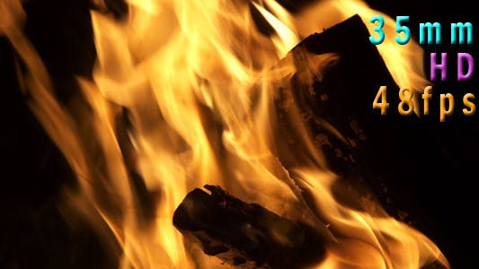 Thumbnail for Flames In A Fire Pit At Night 03