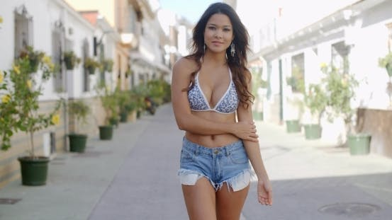 Thumbnail for Sexy Female Model Standing On The Street