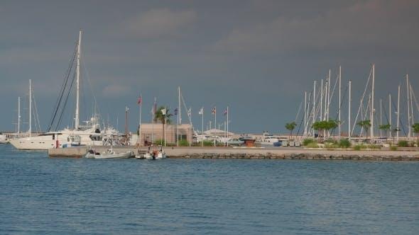 Thumbnail for Sailing And Motor Superyachts Moored In Marina