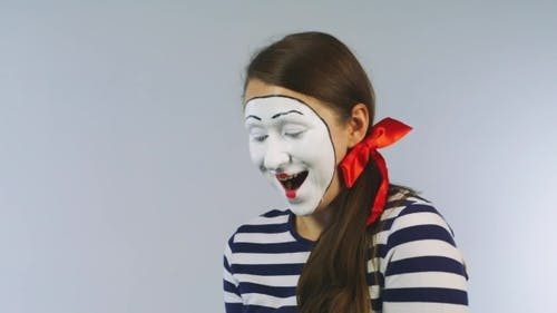 Woman Mime With Cake, Blow Out The Candles