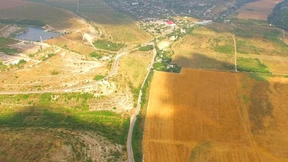 Thumbnail for Bird's Eye Panorama Of Hilly Locality And Harvest