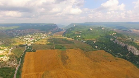Thumbnail for Bird's Eye Scenery Of Hilly Locality And Harvest