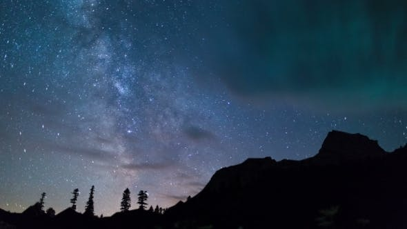 Thumbnail for Milky Way At Mountain  With Trees Silhouette