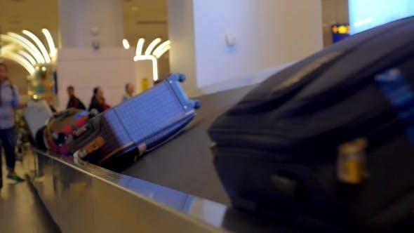 Baggage On Conveyor Belt Of Airport.