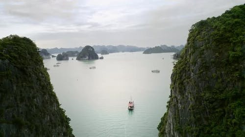 Drone view of Halong Bay in Vietnam