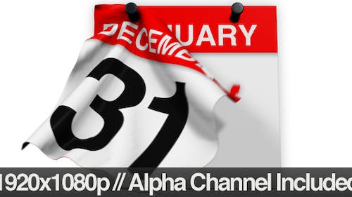 Calendar Revealing the New Year + Alpha Channel