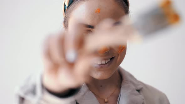 Thumbnail for Closeup of Girl Worker Painting with a Paint Brush