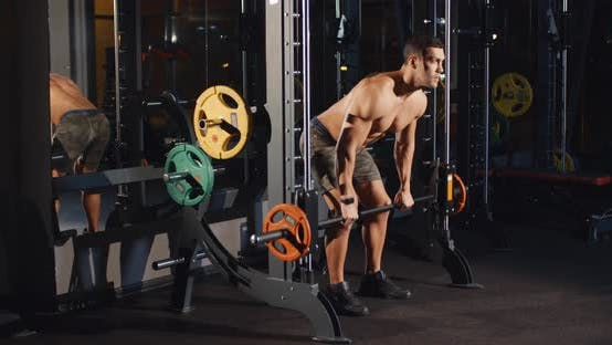 Thumbnail for Athletic Man Workout with Barbell Machine in Gym Sport Muscle Training