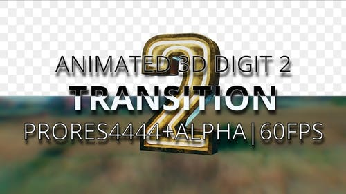 Animated digit 2 transition UHD 60fps