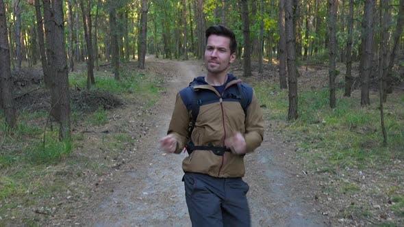 молодой красивый поход танцует свой путь вниз путь через лес - вид спереди