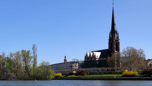 Dome Church and Main River in Frankfurt Germany