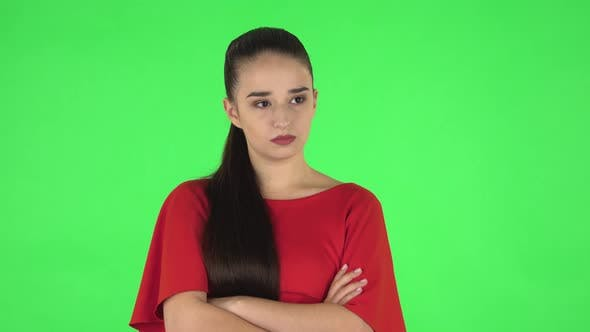 Thumbnail for Portrait of Pretty Young Woman Is Very Offended and Looking Away. Green Screen