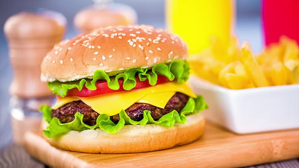 The Tasty And Appetizing Hamburger Cheeseburger