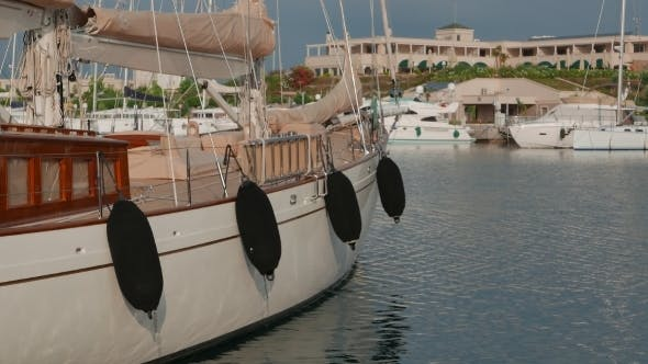 Thumbnail for Classic Sailing Superyacht Moored In Marina