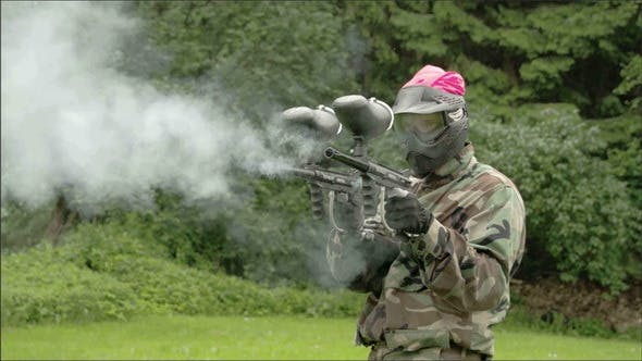 Thumbnail for Two Paintball Guns are Being Fired Up