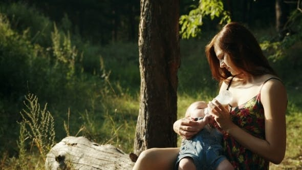 Cover Image for Mother Feeding Her Baby In Nature Outdoors