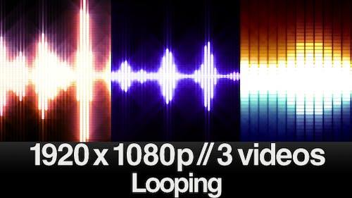 3 Audio Equalizer VU Meters - Bright Glow - LOOPED