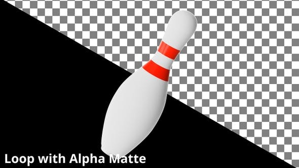 Thumbnail for Floating Bowling Pin on Black with Alpha Matte