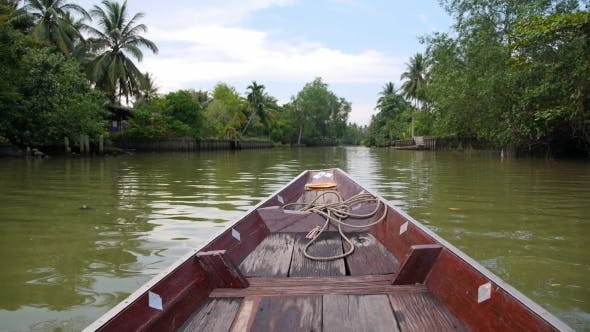 Thumbnail for Floating Traditional Thai Boat On The River