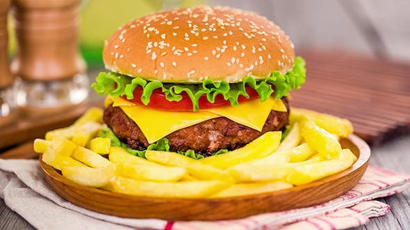 Thumbnail for Tasty And Appetizing Hamburger Cheeseburger