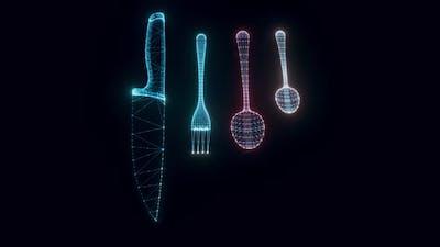 Cutlery Hologram Rotating Hd