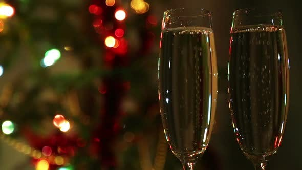 Thumbnail for Glasses  Champagne Against Festive Lights Background
