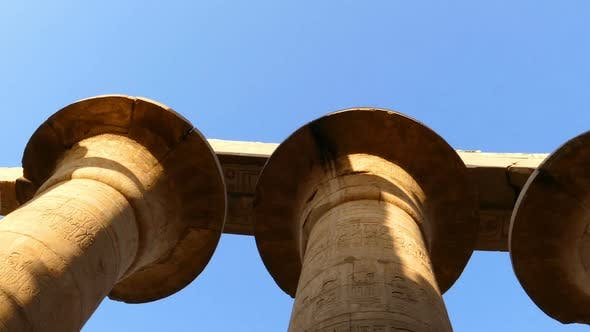 Cover Image for Top Of Columns In Karnak Temple  Ancient Egypt Hieroglyphics - Pan View 2
