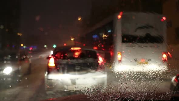 Thumbnail for Traffic Jam In The Snow - View From Car 2