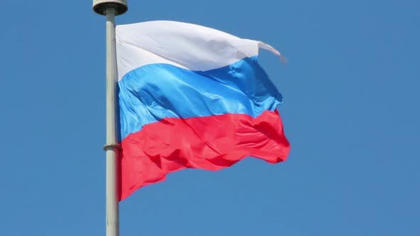 Thumbnail for Russian Flag On Blue Sky Background
