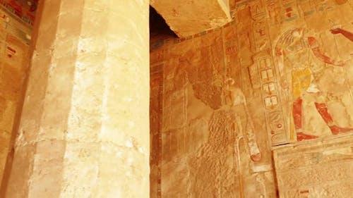 Alte Ägypten Farbe Bilder auf Wand in Luxor - Panansicht 2