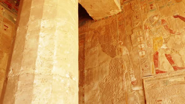 Thumbnail for Ancient Egypt Color Images On Wall In Luxor - Pan View 2