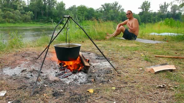 Camping - Kettle Over Campfire 1