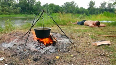 Camping - Kettle Over Campfire 2