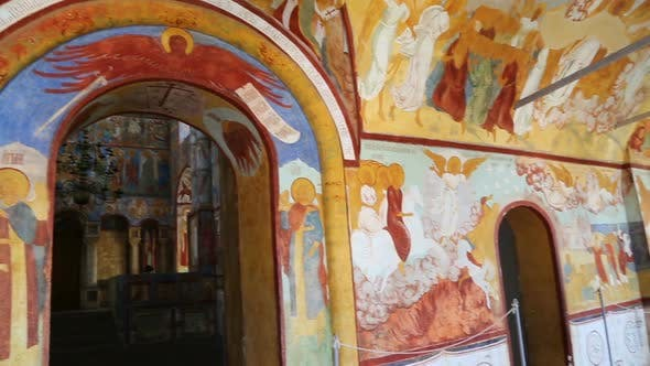 Thumbnail for Interior Of The Temple  Ancient Paintings In Rostov Veliky - Golden Ring Of Russia, Pan View 1