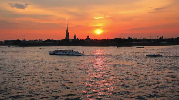 Thumbnail for Sunset Over Peter And Paul Fortress In Saint-Petersburg, Russia