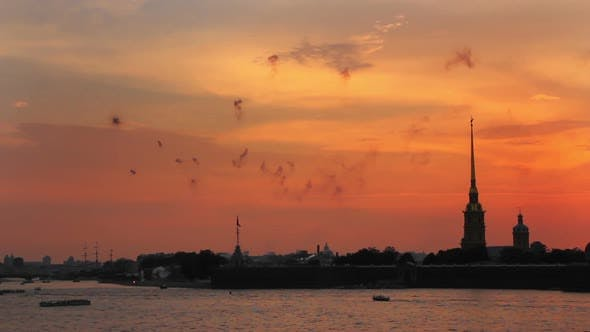 Thumbnail for Firework At Sunset Over Peter And Paul Fortress In Saint-Petersburg Russia - 1