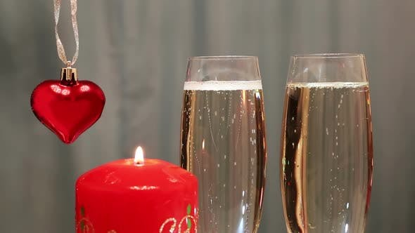 Thumbnail for Valentines Day - Glasses  Champagne  Heart And Candle