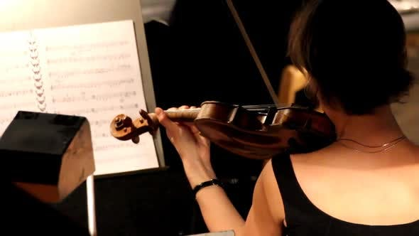 Thumbnail for Woman From Behind Playing On Violin In Orchestra