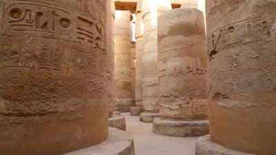 Columns In Karnak Temple  Ancient Egypt Hieroglyphics - Pan View