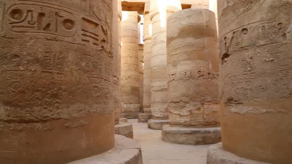 Thumbnail for Columns In Karnak Temple  Ancient Egypt Hieroglyphics - Pan View