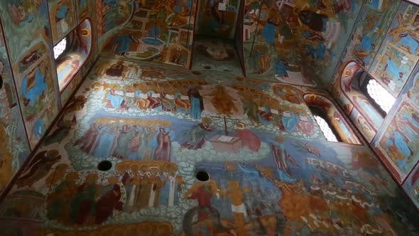 Thumbnail for Interior Of The Temple  Ancient Paintings In Rostov Veliky - Golden Ring Of Russia, Tilt View 5