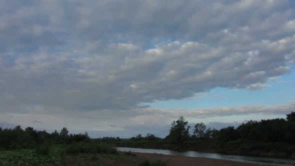 Thumbnail for Morning Landscape  Rain Clouds Over River