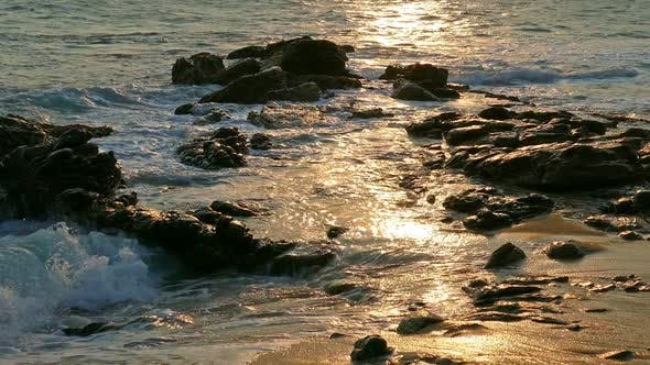 Thumbnail for Sea Waves At Sunset On The Beach 1