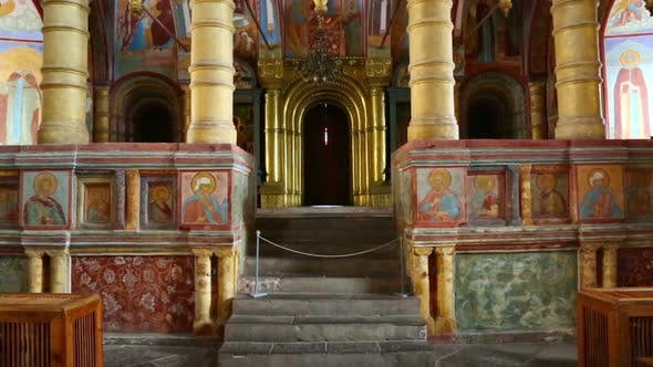 Thumbnail for Interior Of The Temple  Ancient Paintings In Rostov Veliky - Golden Ring Of Russia, Tilt View 4
