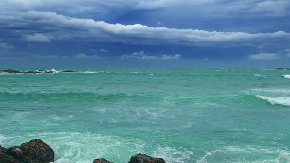Thumbnail for Sea Stormy Landscape Over Rocky Coastline In Indian Ocean 8